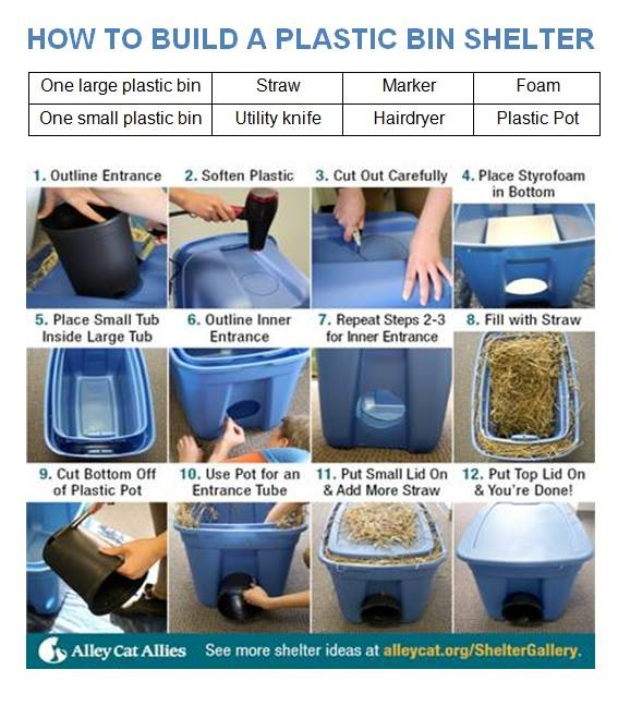 how to build a plastic bin cat shelter